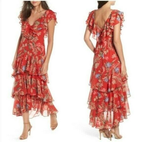 NEW WAYF Chelsea Floral Red Ruffle Maxi Dress Tier